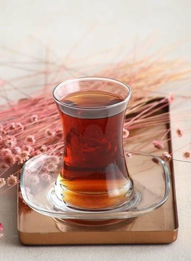 Lav Zen Sade Çay Seti Çay Takımı - Çay Bardağı Takımı Tabağı 12 Prç. Renkli